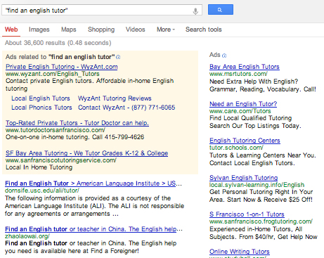 Testing Internet Business Ideas: Google Search Results