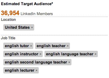 The LinkedIn audience targeting tool